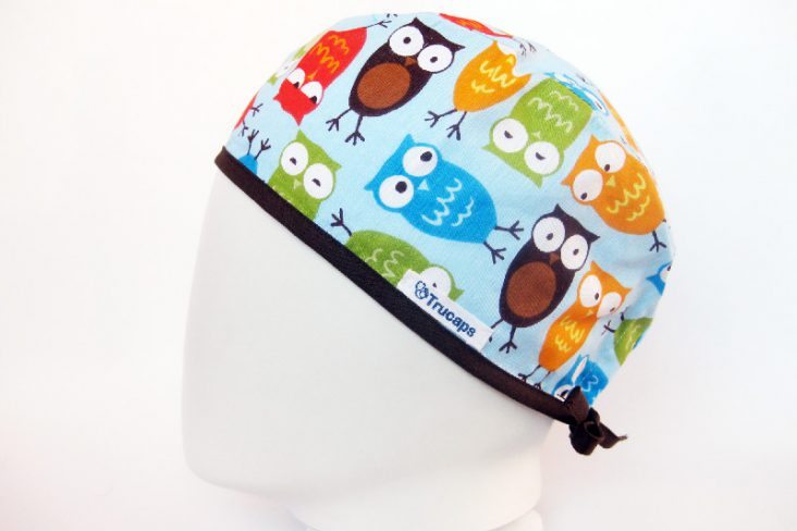 Gorro Quirofano Buhos Colores h, lateral
